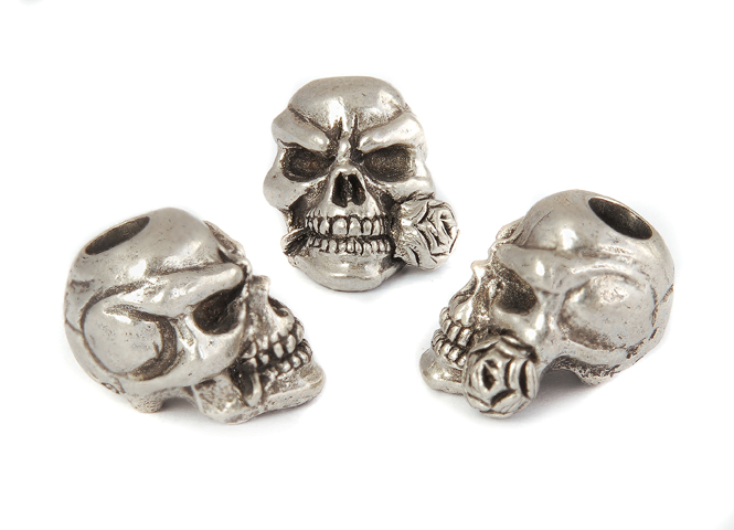 Rose Skull Bead - Zinn (Steel-Finish)
